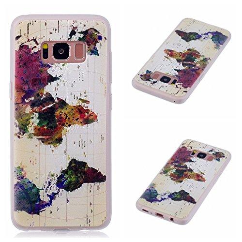 Funda Samsung Galaxy S8,XiaoXiMi Carcasa de Silicona TPU Suave y Esmerilada Funda Ligero Delgado Carcasa Anti Choque Durable Caja de Diseño Creativo - Mariposa Mapa