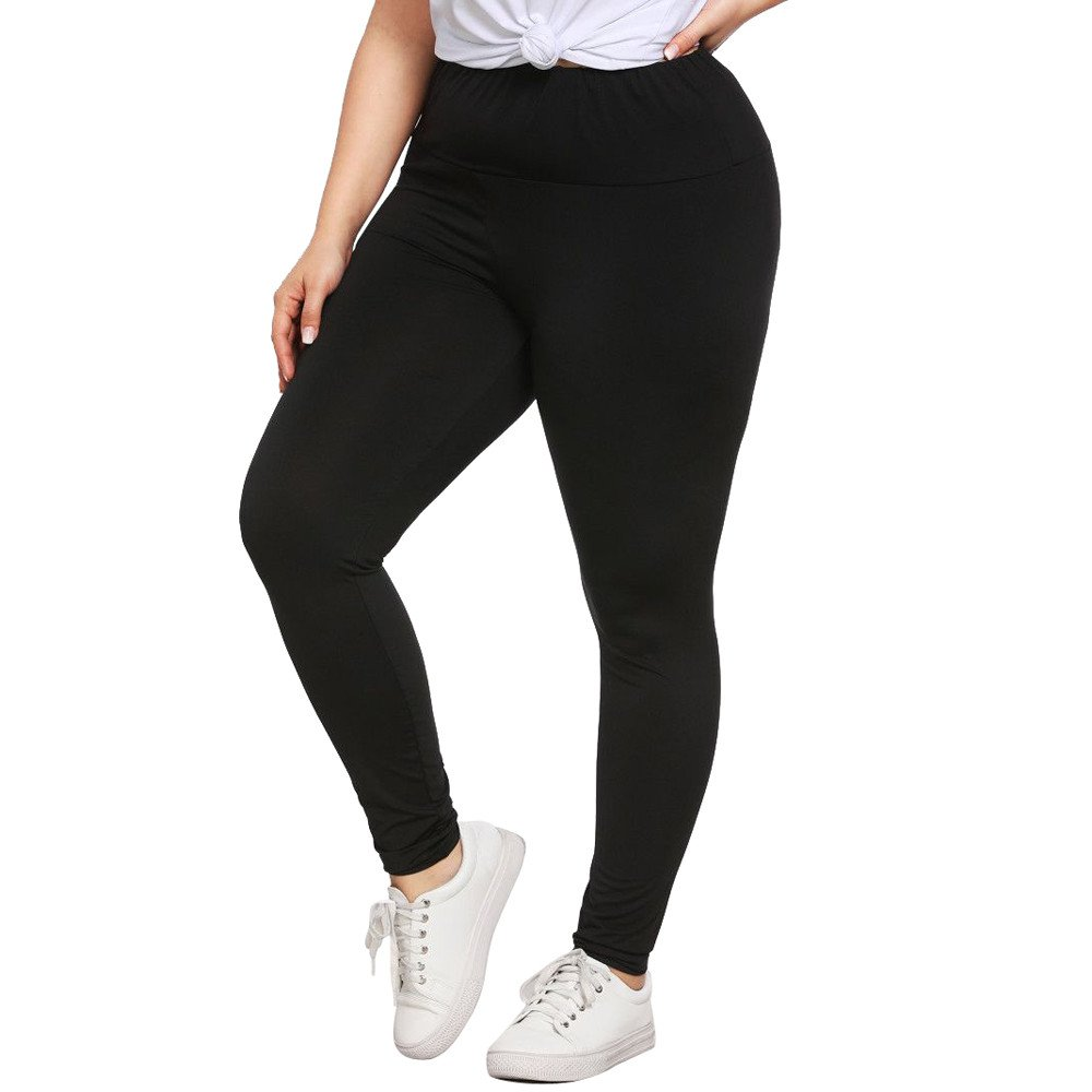 Mnyycxen Plus Size Womens Sexy Yoga Leggings, Trousers Sport Pants Sports Leggings for Women Tummy Control Pants Black