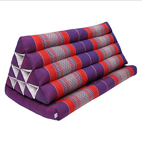 Thai triangle cushion XXL, with 1 folding seat, sofa, relaxation, beach, pool, meditation, yoga, made in Thailand Violet/Red (81516) by Wilai GmbH