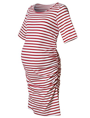 Maternity Dress,Bodycon Maternity Clothes for Women,Casual Short Sleeve Ruched Sides,Red and White Stripe XXL by Bhome