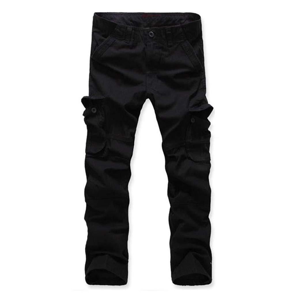 TANLANG Men Outdoor Mountain Climbing Movement Buttom Fashion Slim Fit Zipper Pocket Tooling Trousers Long Pants Black