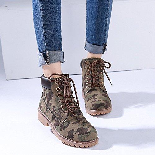 Damenschuhe Combat Boots - hibote Worker Boots Stiefeletten Stiefel Cowboy Stiefel Warm Gefütterte Stiefeletten Gr.36-41 Camouflage (mit gefüttert)
