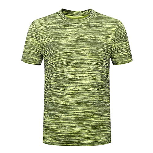 KINGOL Mens Summer Casual O-Neck Sport Fitness T-Shirt Quick-Drying Short Sleeve Breathable Top Blouse Green