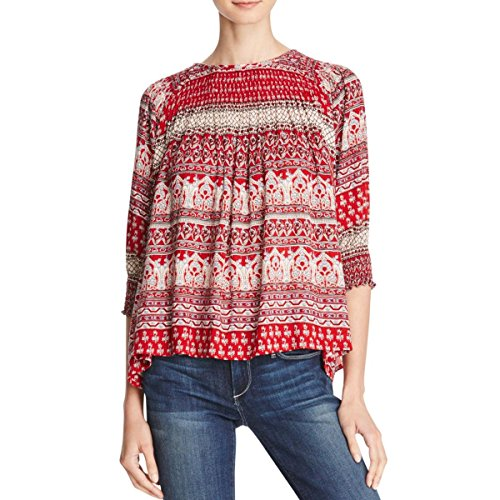 Love Sam Womens Smocked Printed Pullover Top Red S by Love Sam