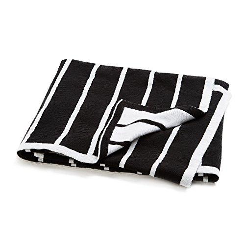 - Brooklyn Born Organic Knitted Blanket - Breton Stripe, Black/White, One Size