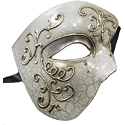 RedSkyTrader Mens Half Face Phantom Aged Finish Mask One Size Fits Most Silver