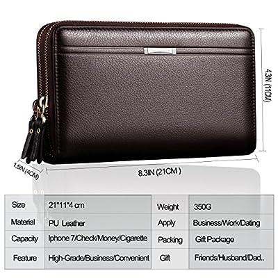 Men's Clutch Bag Handbag Long Wallet Business Organizer Checkbook PU Leather Purse Sllybo