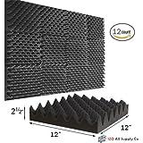 "(12 Pk) 2.5""x12""x12"" Soundproofing Foam Acoustic Eggcrate Tiles Studio Foam Sound Wedges"