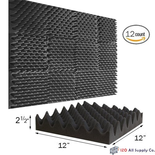 (12 Pk) 2.5'x12'x12' Soundproofing Foam Acoustic Eggcrate Tiles Studio Foam Sound Wedges
