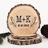 KISKISTONITE Wooden Wedding Cake Toppers Rustic, Personalized Iris Flower Design, Engraved Mr and Mrs Country Style Cake Decoration Favors Party Decorating Supplies