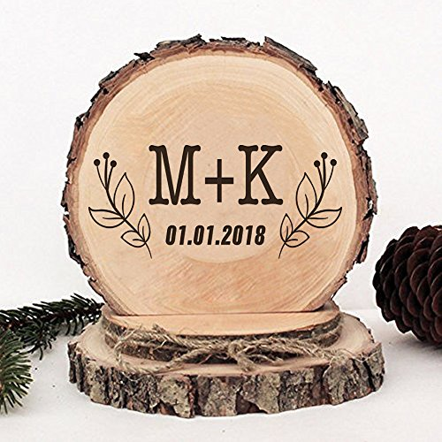 KISKISTONITE Wooden Wedding Cake Toppers Rustic, Personalized Iris Flower Design, Engraved Mr and Mrs Country Style Cake Decoration Favors Party Decorating Supplies by kiskistonite (Image #2)