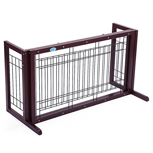 JAXPETY Pet Fence Gate Free Standing Adjustable Dog Gate Indoor Solid Wood  Construction (Solid Wood