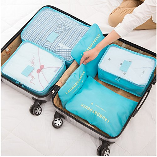 HongyuTing 6Pcs Waterproof Clothes Packing Cubes Travel Luggage Organizer Bag