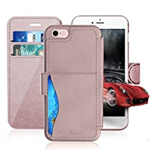 iPhone 6/6S Leather Wallet Plastic Case with Credit Cards Slot and Metal Clip, TAKEN Apple i Phone 6S Flip Cover, Vintage and Fashion, Durable and Shockproof Holster, 4.7 Inch (Rose Gold) 2014/2015