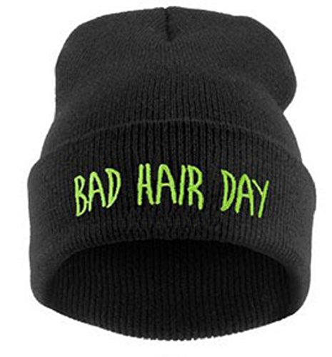 YABINA Bad Hair Day Beanie Hat - Multiple Colors (Black Green) Green Day Black Beanie
