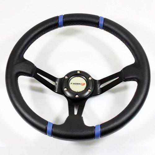 350mm JDM Drifting Deep Dish Style Racing Steering Wheel Black/Blue Trim
