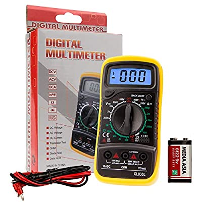 XL830L Pocket Digital Multimeter Mini Voltage Tester Home Measuring Tools Multi-Tester Test DC Current, Resistance, Continuity, Frequency Backlight LCD Display With Battery
