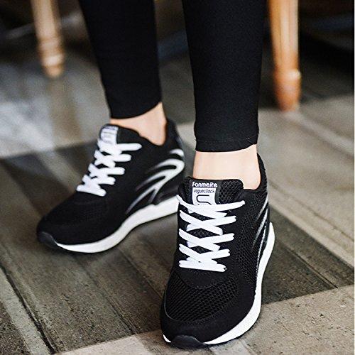 Tqgold Comode Nero Da Sneakers Scarpe Ginnastica Traspiranti 8 Zeppa Basse Interna Fitness Sportive Cm E Donna ZwArZ7q