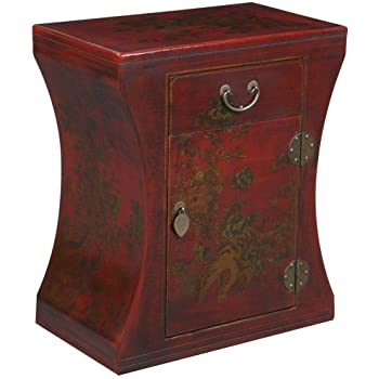 EXP Handmade Oriental Furniture 24-Inch Antique Style Red Hourglass End Table