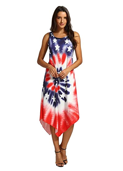9ee4adb2a1a Luckylin American Flag Dress for Women USA Patriotic Independence Day 4th  July at Amazon Women s Clothing store