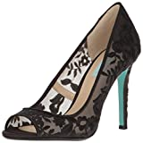 Peep toe pump with mesh and flower embroidery