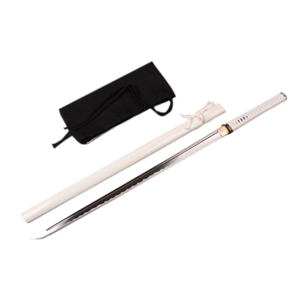 YJ COOL Japanese Ninja Straight Sword Katana White Practice Sharp High Carbon Steel Real Sharp Battle Ready (White) by YJ COOL