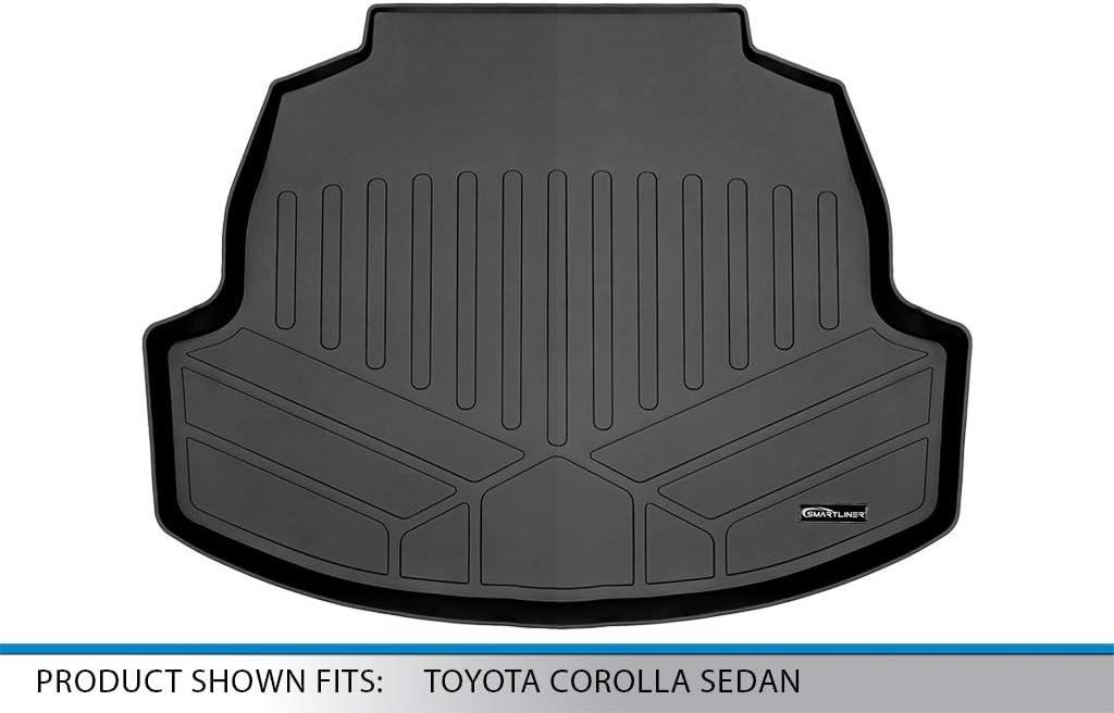 SMARTLINER Custom Fit Floor Mats 2nd Row Liner Black for 2020 Toyota Corolla Sedan