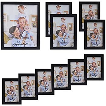 giftgarden multi wooden picture frame for multiple sizes 11pcs one 8x10 two 5x7two 4x6 six 35x5 pvc lens