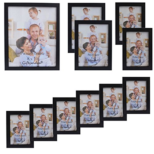 Giftgarden Multi Wooden Picture Frame for Multiple Sizes 11pcs, one 8x10, two 5x7, two 4x6, six 3.5x5 PVC - Add Frames Lenses To
