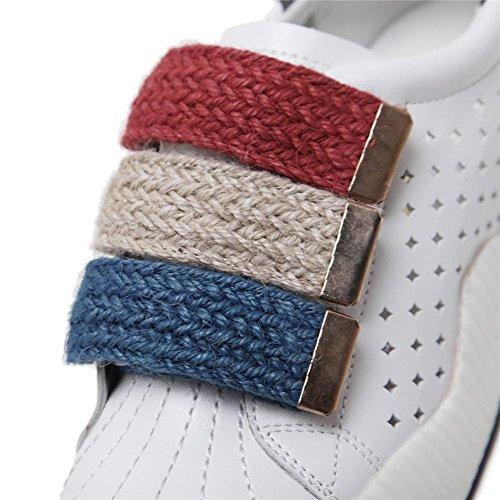 YEEY Otoño zapatos de Running para las mujeres permeabilidad plana talón hueco grueso inferior zapatos casuales cómodos desgaste de fondo plano Grey