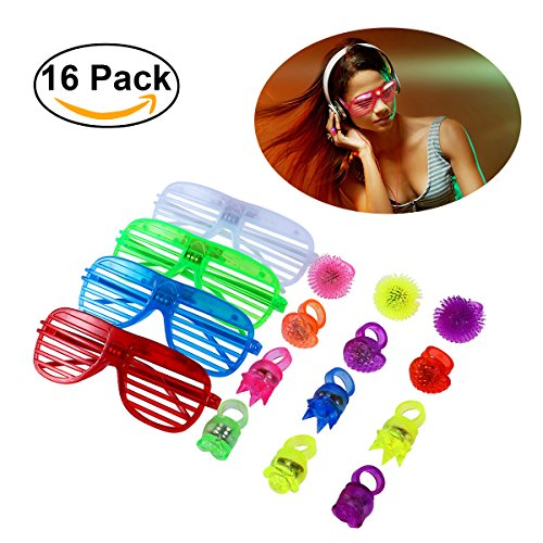 TOYMYTOY 16pcs Colorful Flashing Led Rings and Led