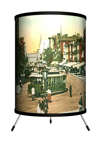 Lamp-In-A-Box TRI-TRV-FSTDC Travel - F Street, Washington DC Postcard Tripod Lamp, 14'' x 8'' x 8'' by Lamp-In-A-Box