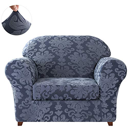 CHUN YI 2-Piece Stretch Jacquard Damask Elegant Collection Chair Loveseat Sofa Slipcover Easy Fitted Couch Cover Stretchable Durable Furniture Protector (Small, Grayish Blue)