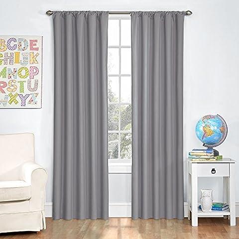 Eclipse Kids Microfiber Room Darkening Window Curtain Panel, 42 by 63-Inch, Gray (Eclipse Kids 63)