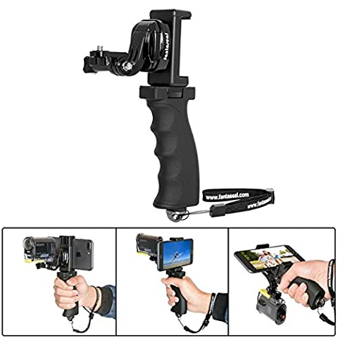 Fantaseal Ergonomic Action Camera Hand Grip Mount w/ Smartphone Clip for Sony FDR X-3000V X1000VR HDR AS 300 AS-10/15 /20 /30/50 /100 /200 AZ-1 Action Cam Nikon Keymission Hand Grip HandHeld - Micro M2 Stick