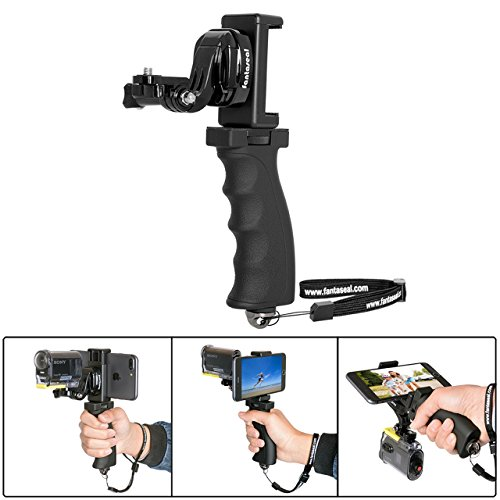 Fantaseal Ergonomic Action Camera Hand Grip Mount w/ Smartphone Clip for Sony FDR X-3000V X1000VR HDR AS 300 AS-10/15 /20 /30/50 /100 /200 AZ-1 Action Cam Nikon Keymission Hand Grip HandHeld Holder