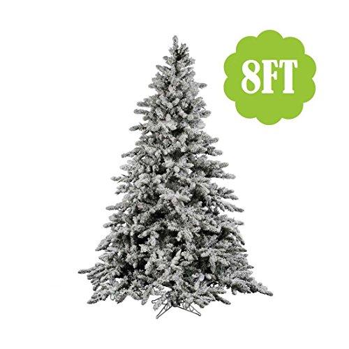 2-9ft WHITE SNOW FLOCKED PVC Artificial Christmas Tree Unlit Multiple Sizes S-M-L (8 feet) Flocked Christmas Trees
