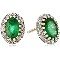 14k Yellow Gold, Emerald, and Diamond Oval Stud Earrings (1/10cttw, I-J Color, I2-I3 Clarity)