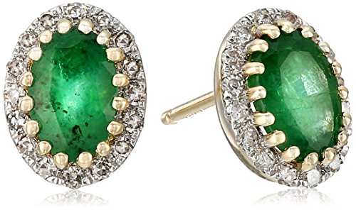 14k-Yellow-Gold-Emerald-and-Diamond-Oval-Stud-Earrings-110cttw-I-J-Color-I2-I3-Clarity
