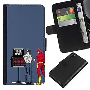YiPhone /// Tirón de la caja Cartera de cuero con ranuras para tarjetas - Divertido Perno Superhero flash - Sony Xperia Z3 D6603