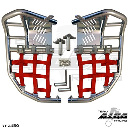 Yamaha YFZ 450 (2004-2009) (2012-2013) Propeg Nerf Bars Silver Bars w/Red ()