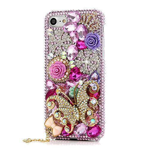 STENES iPhone 8 Plus Case - 3D Handmade Luxury Series Crystal Snow Rose Flowers Butterfly Sparkle Rhinestone Cover Bling Case for iPhone 7 Plus/iPhone 8 Plus Retro Bows Dust Plug - Pink