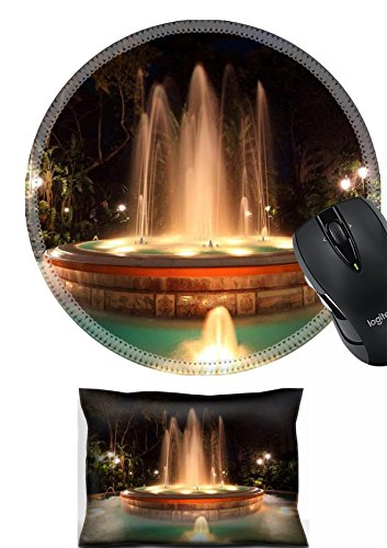 MSD Mouse Wrist Rest and Round Mousepad Set, 2pc Wrist Support design 19276980 Illuminated fountain in Marbella Spain - Marbella Round Table
