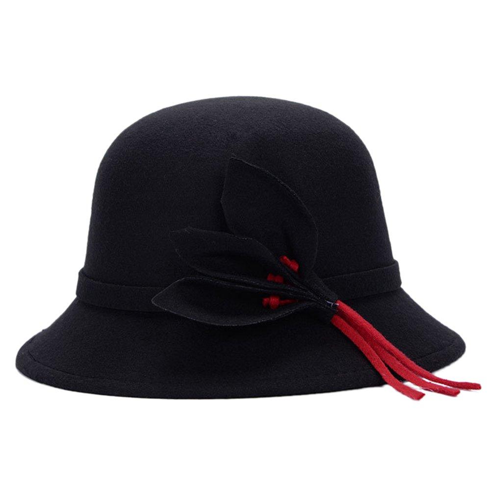 TININNA Stile britannico Modo Autunno e Inverno caldo Cappello di lana in feltro Bombetta Cappello d...