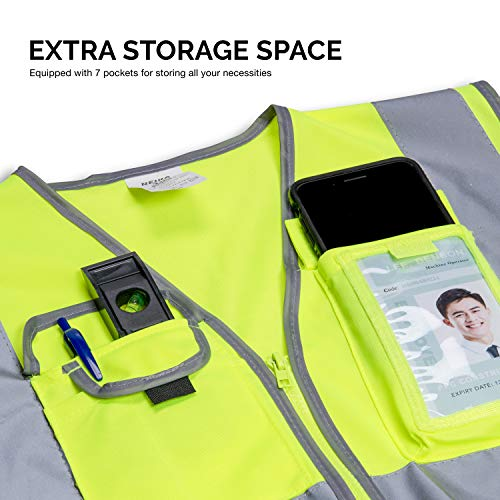 Neiko 53994A High Visibility Safety Vest with 7 Pockets and Zipper, Neon Yellow | Size L by Neiko (Image #3)