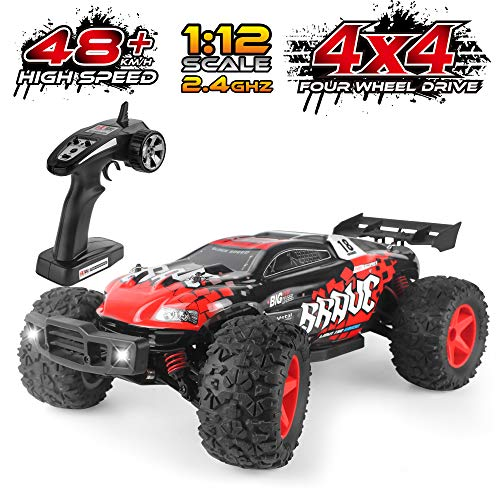 RC Car 1/12 Off Road Remote Control Car 4WD 48KM/H, HiStorm All Terrian Hobby Grade RC Monster Truck, 2.4GHz Remote Controlled Cars for Boy Girls Kids Adults, Rechargeable High Speed RC Car| Best Gift (Grade Hobby Rc Buggy)