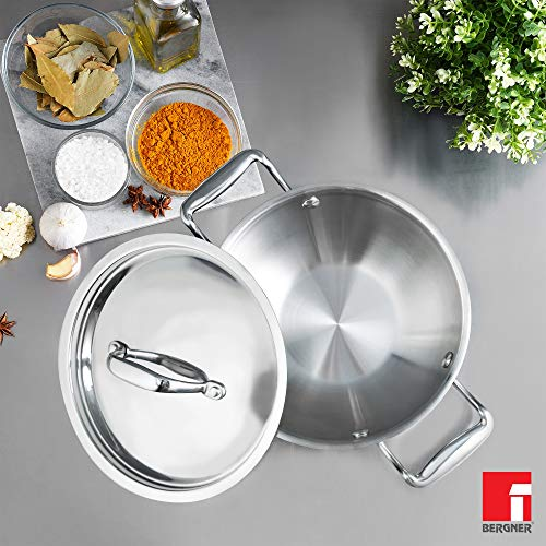 Bergner-Argent-5CX-5-Ply-Stainless-Steel-Kadhai-with-Stainless-Steel-Lid-Riveted-Cast-Handle-Induction-Base-20-cm-15-Liters-Silver