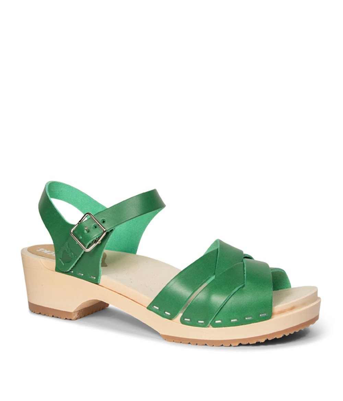 Sandgrens Swedish Wooden Low Heel Clog Sandals for Women | Rio Grande B07CRHP9X7 EU 41 = US 10.5-11|Strong Green