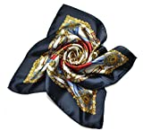 Ginasy Silk Scarf Square Pattern Neck Shawl Wrap Elegant Womens Headscarf (Black)