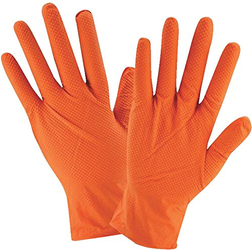 West Chester 2940 Industrial Grade Textured Disposable Nitrile Gloves, 7 mil, Powder Free: Orange, XX-Large, Box of 90